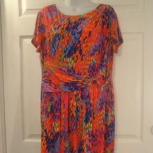 ELLEN TRACY Red Multi-Color Wrap Dress 16